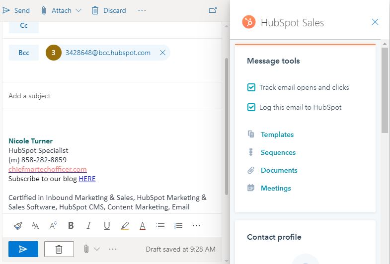 write an email_hubspot email tracking