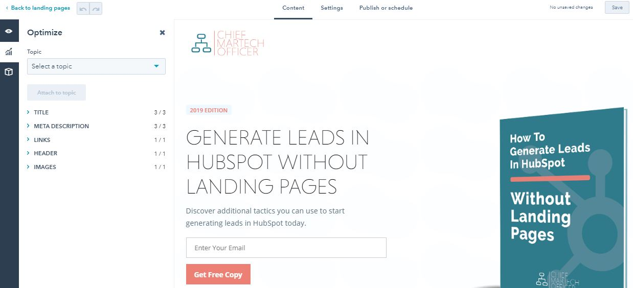 hubspot seo tips for landing pages