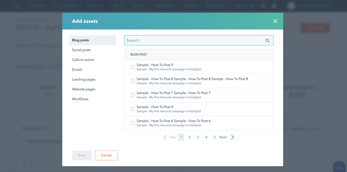 Hubspot assets update on Campaign tool